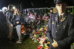 March 17, 2019 - Christchurch, Canterbury, New Zealand - A Police officer seen at the tribute of the Christchurch mosques shooting. Around 50 people has been reportedly killed a terrorist attack onn two Christchurch mosques. (Credit Image: © Adam Bradley/SOPA Images via ZUMA Wire)