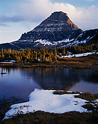 Mount Reynolds, 9,125 feet, reflected in alpine pond, Glacier National Park, Montana.