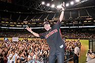 PHOENIX, ARIZONA - JULY 16: Luis Coronel holds a post game concert. (Photo by Sarah Sachs/Arizona Diamondbacks)