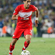 Spartak Moscow's Romulo during their UEFA Champions League Play-Offs, 2nd leg soccer match Fenerbahce between Spartak Moscow at Sukru Saracaoglu stadium in Istanbul Turkey on Wednesday 29 August 2012. Photo by TURKPIX