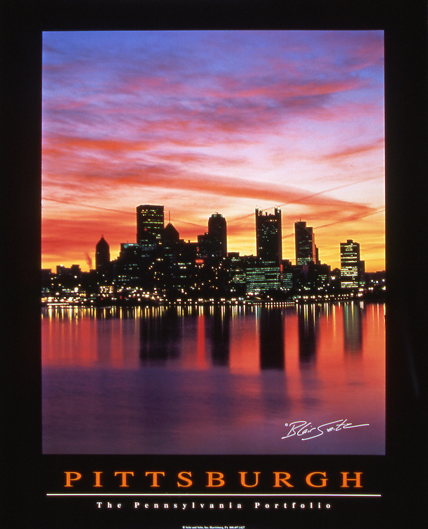 """Poster of Pittsburgh sunrise over Golden Triangle and Three Rivers, Pennsylvania. Black border with """"Pittsburgh"""" and """"The Pennsylvania Portfolio"""" written at the bottom"""