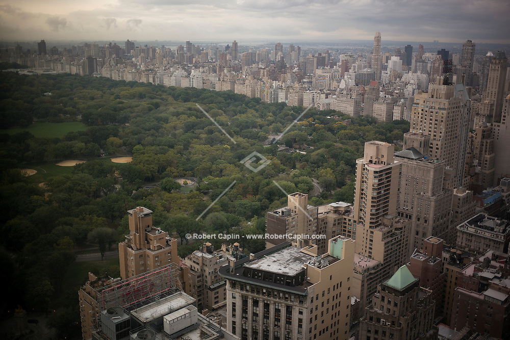 View of Central Park from the Hearst Tower. Columbus Circle, Time Warner Building. September 30, 2014. <br />  <br />  Photo © Robert Caplin