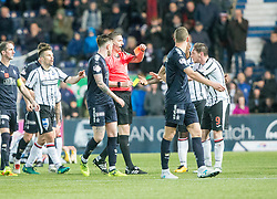 Ref Craig Thomson gives Dunfermline's Declan McManus a red card. Falkirk 1 v 1 Dunfermline, Scottish Championship game played 4/5/2017 at The Falkirk Stadium.