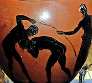 Panathenaic Prize amphora.  Two athletes compete in the pankration, a mixture of wrestling and boxing.  Their trainer, wearing a cloak (himation), steps in to prevent a foul occurring.  Looking on is a nude athlete whose proportions follow those created by the sculptor Lysippos.  Made in Athens during the archonship of Niketes, 332-331 BC