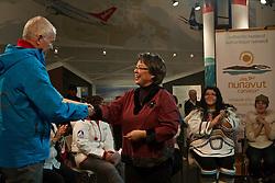 Premier Eva Aariak and VANOC CEO John Furlong on Nunavut Day at Canada's Northern House