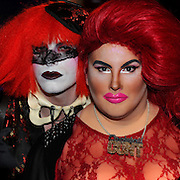 The Annual Drag Queen Ball at the Forbidden Gentleman's Club in Glasgow.   L to R Dot Cot Death ( black lacy mask over eyes)  and Guillotina Munter. Picture Robert Perry The Scotsman 3rd Nov 2012<br /> <br /> <br /> <br /> <br /> <br /> <br /> <br /> <br /> <br /> <br /> <br /> <br /> <br /> <br /> <br /> <br /> <br />  <br /> <br /> <br />  <br />  The Annual Drag Queen Ball at the Forbidden Gentleman's Club in Glasgow.Picture Robert Perry The Scotsman 3rd Nov 2012