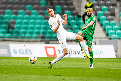 David Hrubik of NK Rudar Velenje vs Brkic Goran of NK Olimpija Ljubljana during football match between NK Olimpija Ljubljana and NK Rudar Velenje in 25rd Round of Prva liga Telekom Slovenije 2018/19, on April 7th, 2019 in Stadium Stozice, Slovenia Photo by Matic Ritonja / Sportida