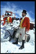 Cosmo Hulton and David Kirke. Dangerous Sports Club Ski race. St. Moritz.  © Copyright Photograph by Dafydd Jones 66 Stockwell Park Rd. London SW9 0DA Tel 020 7733 0108 www.dafjones.com