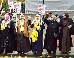 "Whitehall, London, November 5th 2015. Pro Sisi demonstrators and counter protesters from UK Egyptian and human rights groups shout each other down outside Downing Street ahead of Egypt's President Abdel Fatah al-Sisi visiting Prime Minister David Cameron at No. 10. PICTURED: Pro Morsi supporters make the four finger ""Rabia"" symbol."