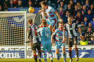 John O'Sullivan of Dundee FC wins a header during the Ladbrokes Scottish Premiership match between St Mirren and Dundee at the Paisley 2021 Stadium, St Mirren, Scotland on 30 March 2019.
