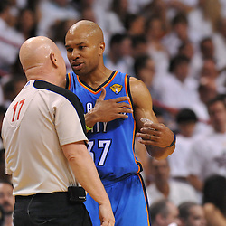 Jun 17, 2012; Miam, FL, USA; Oklahoma City Thunder point guard Derek Fisher (37) talks to official Joe Crawford (17) during the second quarter in game three in the 2012 NBA Finals at the American Airlines Arena. Mandatory Credit: Derick E. Hingle-US PRESSWIRE