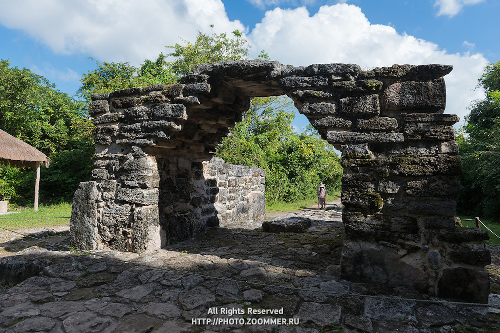 Ruins of the San Gervasio archaeological Mayan site, Korbel arch on the island of Cozumel in Mexico