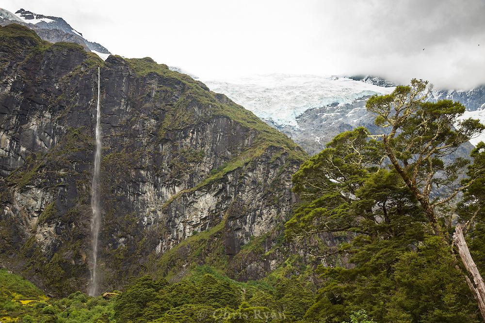 Waterfall and Rob Roy Glacier, Mt. Aspiring National Park, South Island, New Zealand
