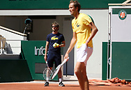 Daniil Medvedev of Russia and his coach Gilles Cervara of France during practice ahead of the French Open 2021, a Grand Slam tennis tournament at Roland-Garros stadium on May 29, 2021 in Paris, France - Photo Jean Catuffe / ProSportsImages / DPPI