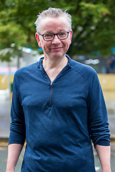 © Licensed to London News Pictures. 29/09/2019. Manchester, UK. Chancellor of the Duchy of Lancaster Michael Gove returns from a run at the Midland hotel on the first day of the Conservative Party Conference at Manchester Central in Manchester. Photo credit: Andrew McCaren/LNP