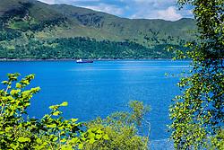 A vessel makes its way up Loch Linnhe heading for Fort William<br /> <br /> (c) Andrew Wilson   Edinburgh Elite media