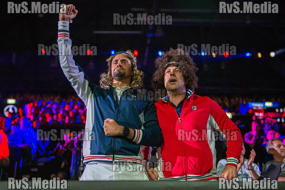 GENEVA, SWITZERLAND - SEPTEMBER 22: Fans in costumes of Bjorn Borg and John McEnroe cheers during Day 3 of the Laver Cup 2019 at Palexpo on September 20, 2019 in Geneva, Switzerland. The Laver Cup will see six players from the rest of the World competing against their counterparts from Europe. Team World is captained by John McEnroe and Team Europe is captained by Bjorn Borg. The tournament runs from September 20-22. (Photo by Robert Hradil/RvS.Media)