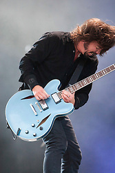 Dave Grohl with the Foo Fighters on the Main Stage.<br /> T in the Park on Sunday 10th July 2011. T in the Park 2011 music festival takes place from 7-10th July 2011 in Balado, Fife, Scotland.<br /> ©Pic : Michael Schofield.