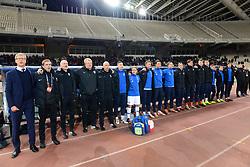 November 15, 2018 - Athens, Attiki, Greece - Finland football team during the National Anthem. (Credit Image: © Dimitrios Karvountzis/Pacific Press via ZUMA Wire)