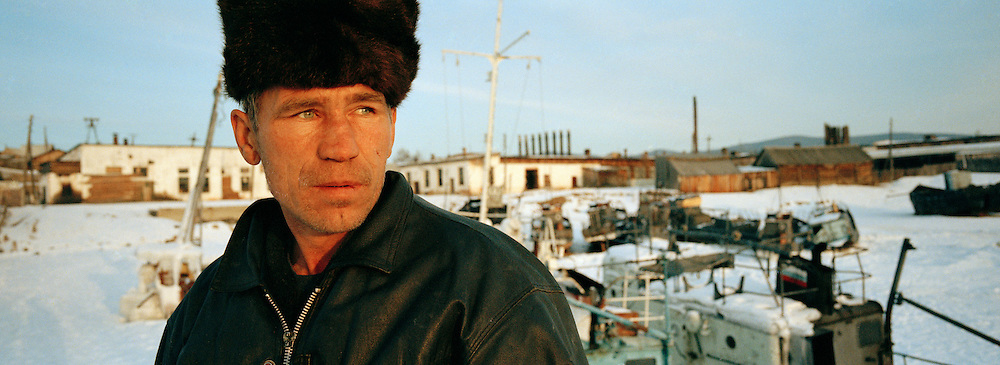 A local man of Olkhon Island harbour, Siberia, Russia.