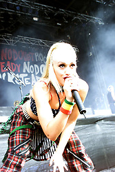 Gywne Stefanio, singer of the No Doubt, the American rock band from Anaheim, California, on the Main Stage, T in the Park, Saturday 13 July, 2002, at Balado, Fife...