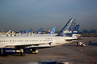 Jet Blue airliners at John F. Kennedy International Airport in New York Sept 15,  2009. (Photo by Robert Caplin)