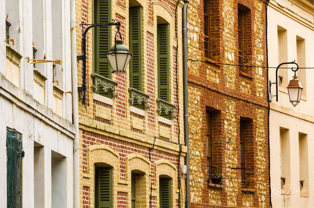 Narrow street and houses, Honfleur, Normandy, France