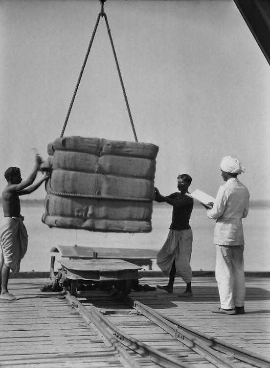Loading Bales of Jute, Calcutta, India, 1929