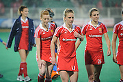 England's Susie Gilbert leaves the pitch after their match against Italy in the Investec Hockey World League Semi Final 2013, the Quintin Hogg Memorial Sports Ground, University of Westminster, London, UK on 27 June 2013. Photo: Simon Parker