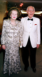 BARONESS THATCHER and SIR DENIS THATCHER at a<br />  dinner in London on 18th June 2000.OFJ 30<br /> © Desmond O'Neill Features:- 020 8971 9600<br />    10 Victoria Mews, London.  SW18 3PY <br /> www.donfeatures.com   photos@donfeatures.com<br /> MINIMUM REPRODUCTION FEE AS AGREED.<br /> PHOTOGRAPH BY DOMINIC O'NEILL