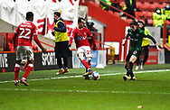 Charlton's Liam Millar and Rochdale's Jake Beesley during the EFL Sky Bet League 1 match between Charlton Athletic and Rochdale at The Valley, London, England on 12 January 2021.