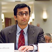 """Raj De. Commission staffers present Staff Statement No. 16, """"Outline of the 9/11 Plot."""" The 9/11 Commission's 12th public hearing on """"The 9/11 Plot"""" and """"National Crisis Management"""" was held June 16-17, 2004, in Washington, DC."""