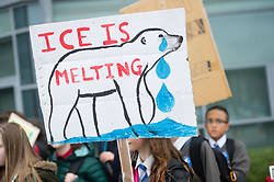 © Licensed to London News Pictures.<br /> Aberystwyth UK  15/03/2019. <br /> Over 300 young teenage students, pupils at several local secondary schools, took part in noisy ' March4Climate' protests outside the offices of the Ceredigion County Council and Welsh Government in Aberystwyth this afternoon. The protests have been happening all across the UK and are calling for climate justice and action to halt and reverse the impacts of climate change. Photo credit: Keith Morris/LNP
