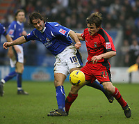 Photo: Pete Lorence.<br />Leicester City v Coventry City. Coca Cola Championship. 17/02/2007.<br />Andy Johson and Jay Tabb battle for the ball.