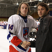 Gunnar Sigurdsson, Iceland, receives bios player of the match award after  the Bulgaria V Iceland match during the 2012 IIHF Ice Hockey World Championships Division 3 held at Dunedin Ice Stadium. Dunedin, Otago, New Zealand. 20th January 2012. Photo Tim Clayton