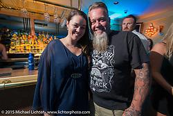 Laconia Motorcycle Week director Jennifer Anderson with Progressive Insurance MC Pat Jansen at the Naswa during Laconia Motorcycle Week. Laconia, NH, USA. June 15, 2015.  Photography ©2015 Michael Lichter.