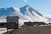 Warning sign for tourists and visitors at the international scientific research base of Ny Alesund, Svalbard. Visitors are request to avoid damaging the permafrost, disturbing nesting birds, and upsetting scientific experiments.