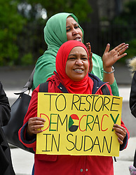 Protesters rallied outside the Scottish Parliament to highlight the growing human rights plight in Sudan, following the military coup earlier this year.<br /> <br /> © Dave Johnston / EEm