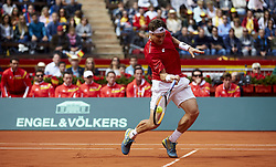 April 6, 2018 - Valencia, Valencia, Spain - David Ferrer of Spain in action in his match against Alexander Zverev of Germany during day one of the Davis Cup World Group Quarter Finals match between Spain and Germany at Plaza de Toros de Valencia on April 6, 2018 in Valencia, Spain  (Credit Image: © David Aliaga/NurPhoto via ZUMA Press)