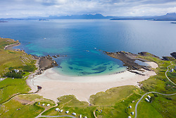 Aerial view of Mellon Udrigle beach in ross-shire in Scottish Highlands, UK