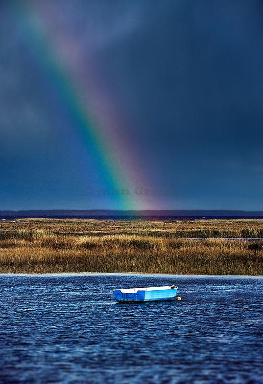 Rowboat rainbow, Boat Meadow Creek, Orleans, Cape Cod,  Massachusetts, USA.