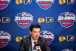 Jeremy Colliton head coach of Chicago Blackhawks during NHL game between teams Chicago Blackhawks and Philadelphia Flyers at NHL Global Series in Prague, O2 arena on 4th of October 2019, Prague, Czech Republic. Photo by Grega Valancic / Sportida