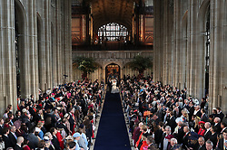 Princess Eugenie and Jack Brooksbank walk down the aisle following their marriage at St George's Chapel in Windsor Castle.