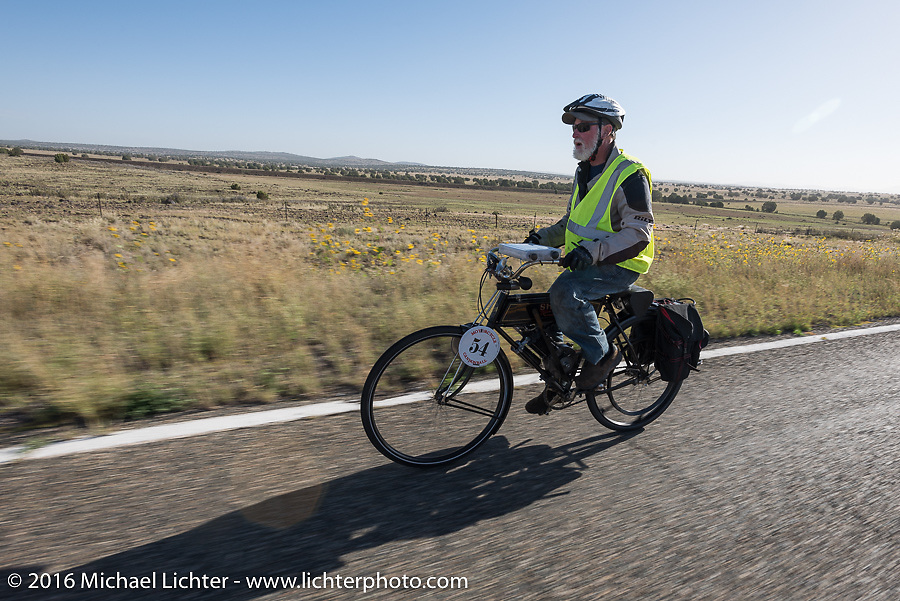 Brent Hanson of California riding his Class-1, single-cylinder, single-speed, belt drive 1913 Shaw Motorcycle during the Motorcycle Cannonball Race of the Century. Stage-13 ride from Williams, AZ to Lake Havasu CIty, AZ. USA. Friday September 23, 2016. Photography ©2016 Michael Lichter.