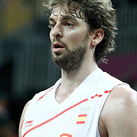 02 August 2012: Spain Pau Gasol rests during 79-78 Team Spain victory over Team Great Britain, during the men's basketball preliminary, at the Basketball Arena, in London, Great Britain.