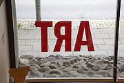 Back to front ART window sign Kode 2 art gallery, Bergen, Norway