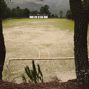 Empty football field on a slope of the Montemuro mountain range