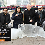 "Penny Appeal - Unveiling of Ice Sculptures for Homelessness ""What Would Jesus Do?"", London, UK"