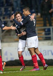 Falkirk's Lyle Taylor (9) cele scoring their second goal..Falkirk 2 v 0 Livingston, 19/2/2013..©Michael Schofield.