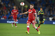 Aron Gunnarsson of Cardiff city in action. Skybet football league championship match, Cardiff city v Middlesbrough at the Cardiff city stadium in Cardiff, South Wales on Tuesday 16th Sept 2014<br /> pic by Andrew Orchard, Andrew Orchard sports photography.
